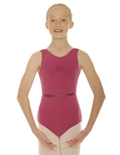 RAD style cotton/lycra sleeveless leotard with ruche