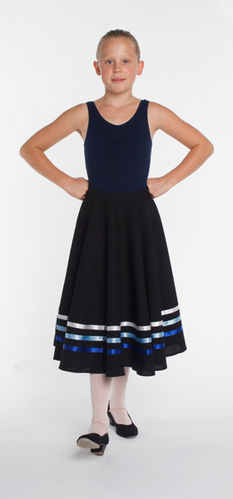 Character Skirt. Black with Blue ribbons